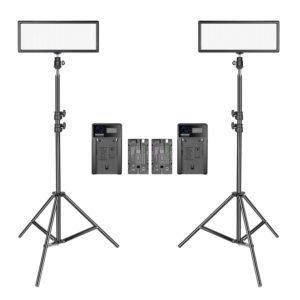 Neewer 2 Packs Super Slim LED Video Light with Light Stand